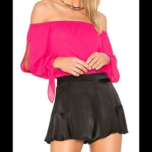 Pink Hibiscus Off the Shoulder Blouse